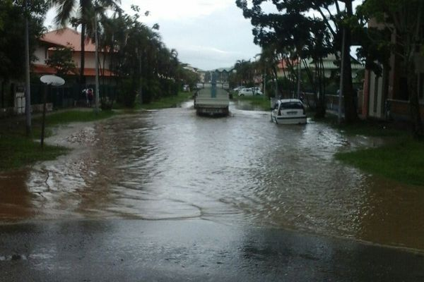 Le quartier de l'Anse à Kourou inondé