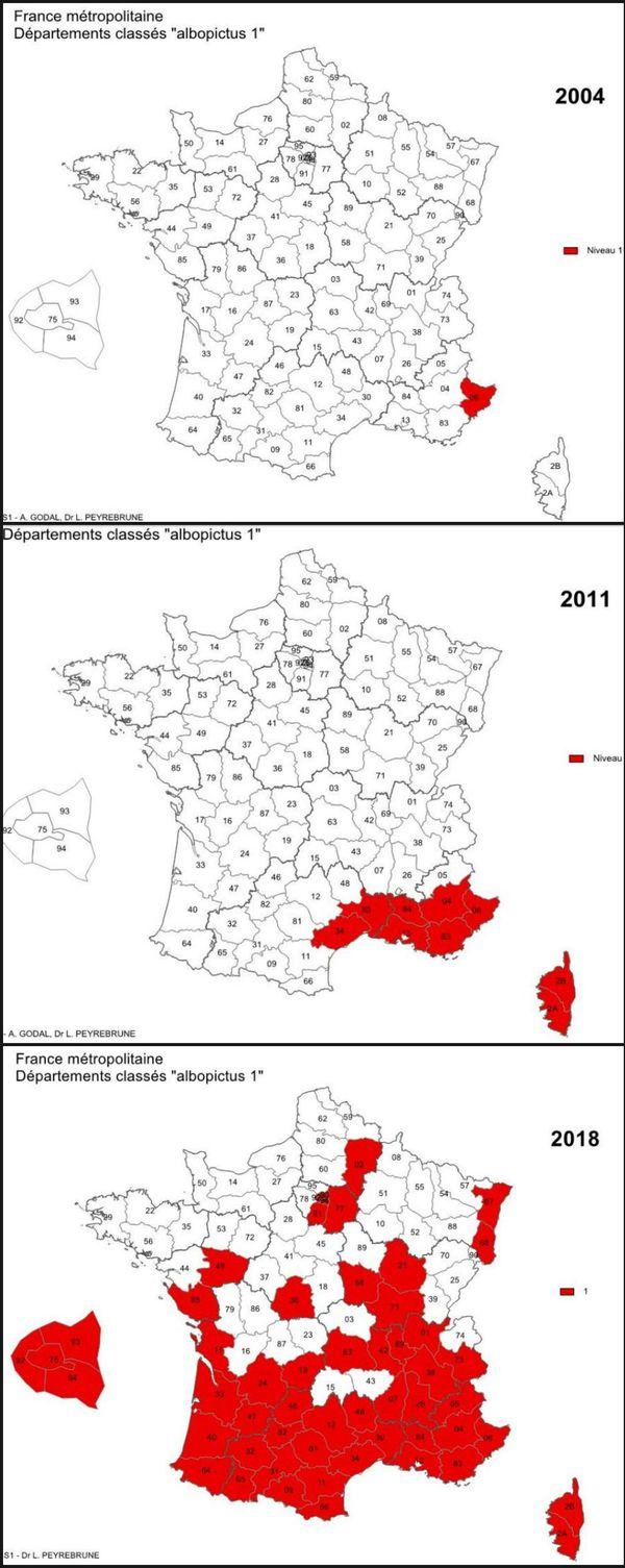 évolution aedes albopictus 2004-2011-2018