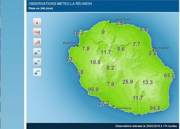 Carte des précipitation du 25 février 2016