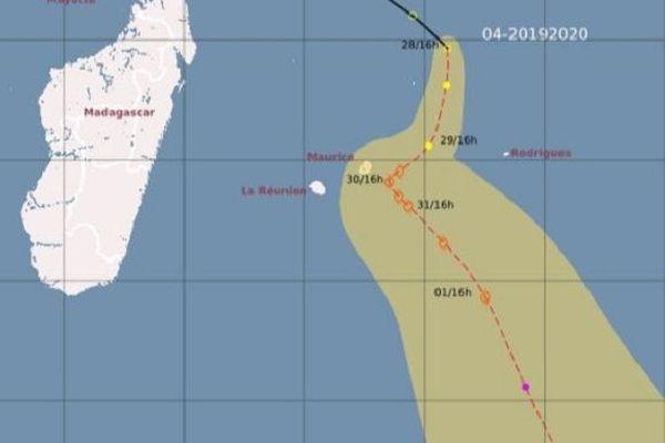 Les prévisions de trajectoire de la zone perturbée au Nord des Mascareignes.