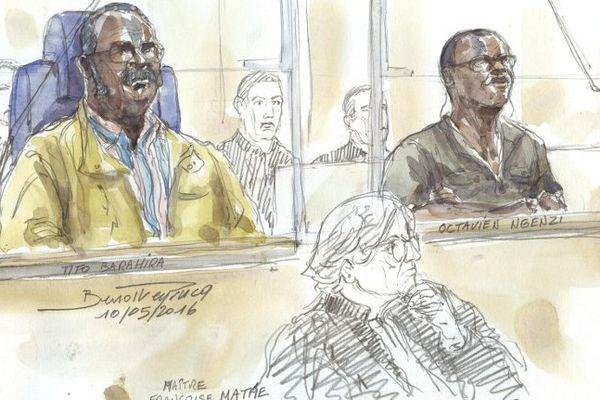 Tito Barahira et  Octavien Ngenzi, deux ex-maires rwandais accusés d'avoir participé au génocide en 1994