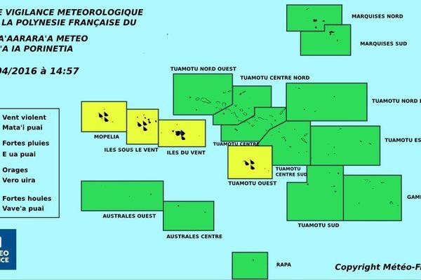 Vigilance jaune pour les fortes pluies sur la Société et les Tuamotu de l'ouest