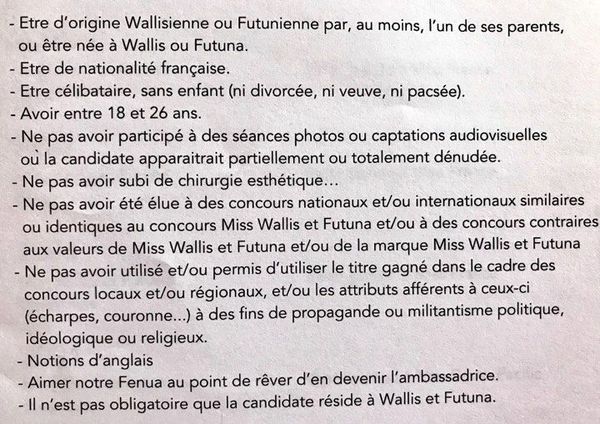 critères miss wallis et futuna 2019
