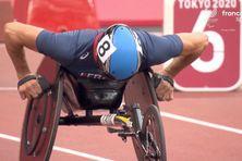 Pierre Fairbank au départ de sa série sur 100 m fauteuil T53, le 1er septembre à Tokyo.