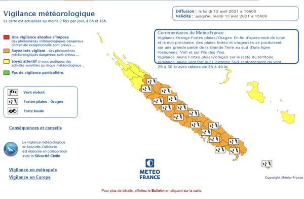 Avis de vigilance orange fortes pluies, 12 avril 2021