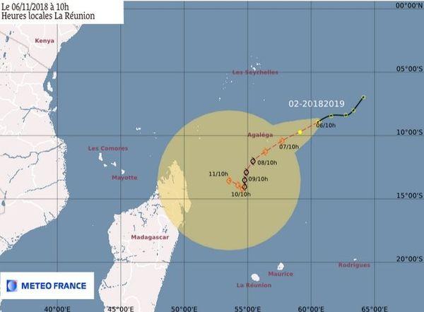 Prévision de trajectoire Météo-France 6 novembre 2018