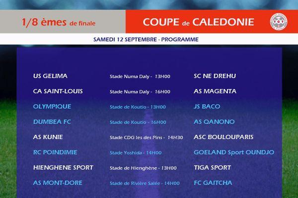 Affiche des huitièmes de finale de la coupe de Calédonie 2020