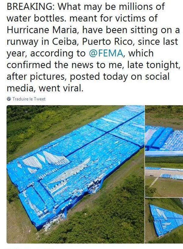 Porto Rico, des millions de bouteilles d'eau potable à Ceiba, un an après le passage de Maria