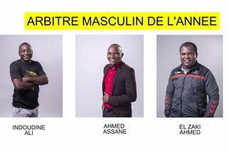 Nominés arbitre masculin 2018 : Indoudine Ali & Ahmed Assane & El Zaki Ahmed