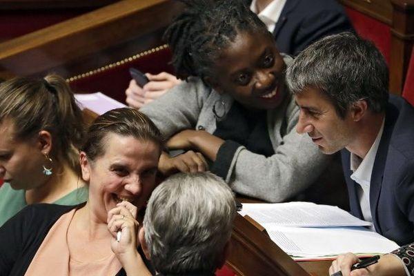 Les députés de La France insoumise Mathilde Panot, Caroline Fiat, Daniele Obono et Francois Ruffin