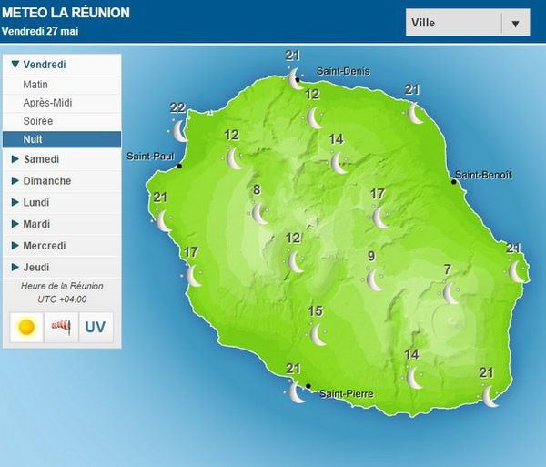 Carte de la Réunion nuit du vendredi 27 Mai 2016