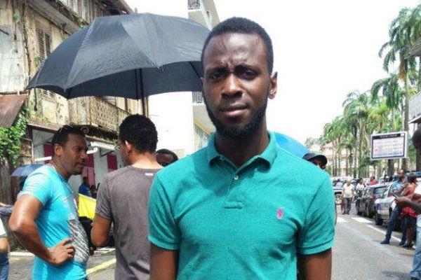 Lénaïck Adam durant le mouvement social de mars dernier en Guyane.