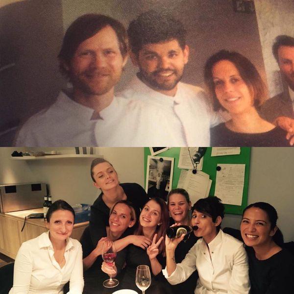 en haut avec le chef Rasmus Kofoed, en bas avec les chefs Dominique Crenn et Anne-Spohie Pic
