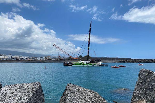 Thomas Coville et le Sodebo Ultim 3 arrivés au Port