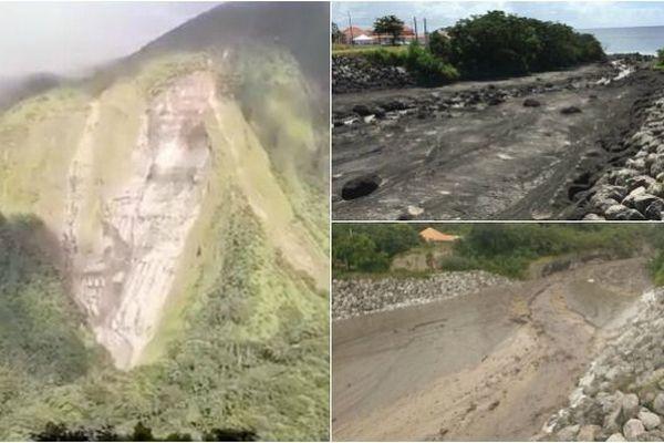 Flanc de montagne et coulées de boue dans la rivière du Prêcheur