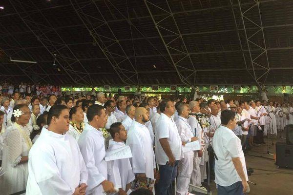 Les choristes lors de la cérémonie