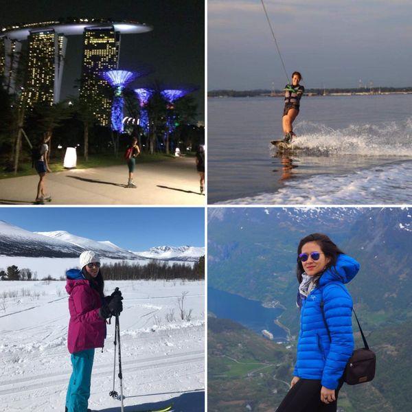 Férue de sports à sensation, Elodie a pu les pratiquer à Singapour et à Oslo