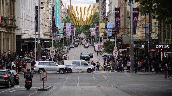 Vue du mall, attaque Melbourne, 9 novembre