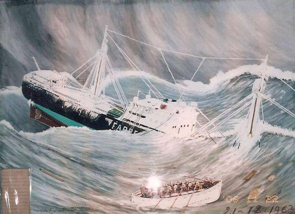 Le naufrage, toile peinte en 1964 par un des rescapés, le maître d'équipage Robert Daniel