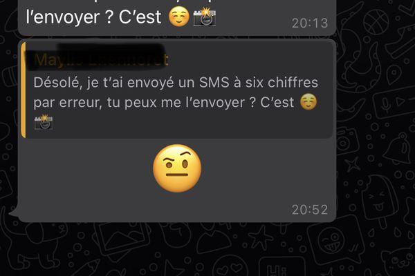 Capture écran d'un message de piratage envoyé sur Whatsapp.