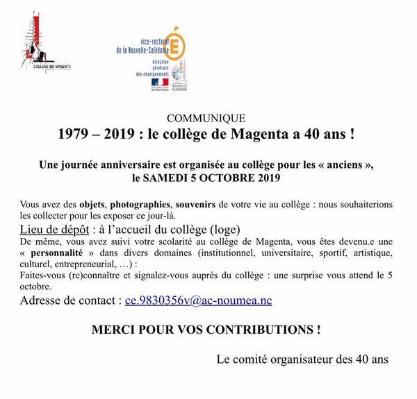 40 ans du collège de Magenta : collecte de souvenirs