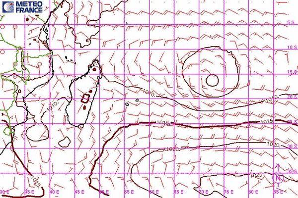 Carte du vent et des isobares sur l'océan Indien le 7 janvier 2021
