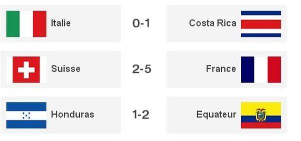 les matchs de vendredi 21 coupe du monde