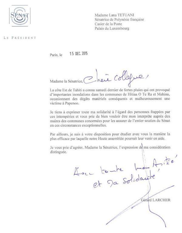courrier à Lana Tetuanui intempéries Sénat