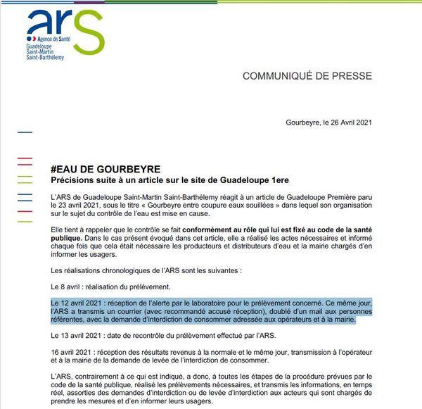 Communiqué de l'ARS 26/04/2021