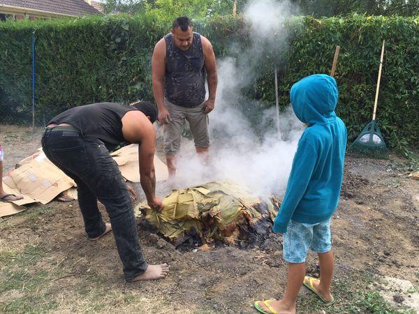 Préparation du umu, le four traditionnel dans le jardin de la famille Tui