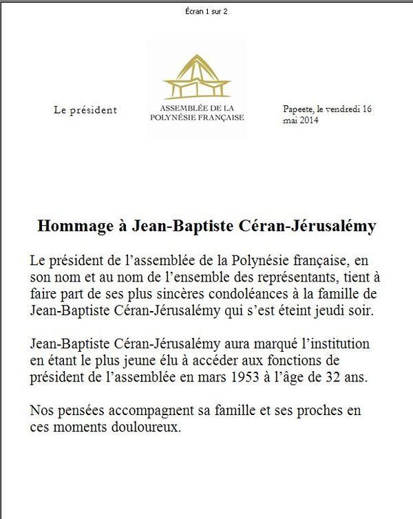 condoléances Ceran-Jerusalemy