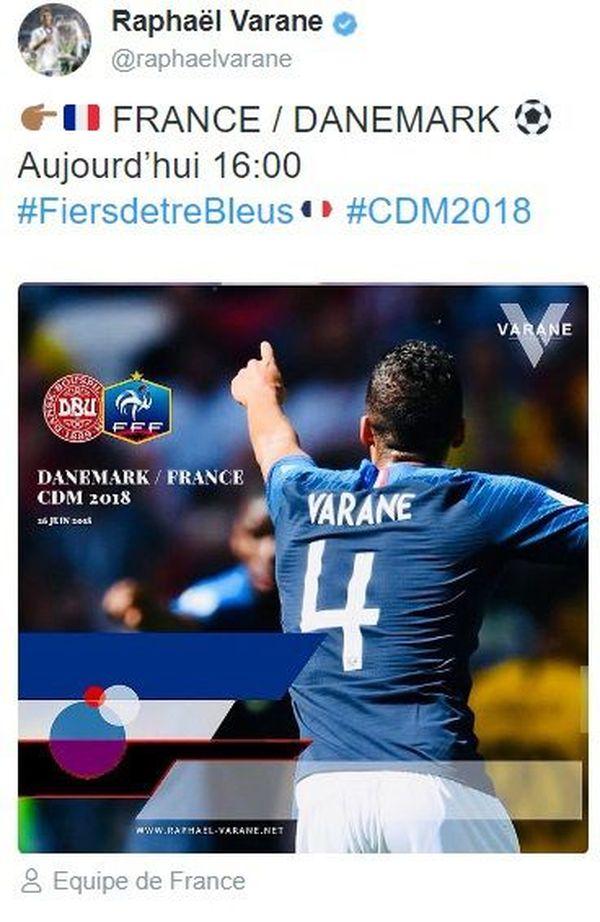 Tweet Varane France Danemark