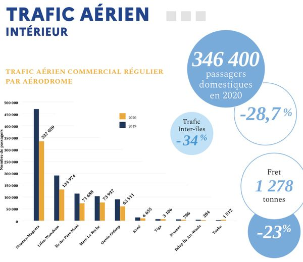 Evolution du trafic aérien intérieur en 2020.