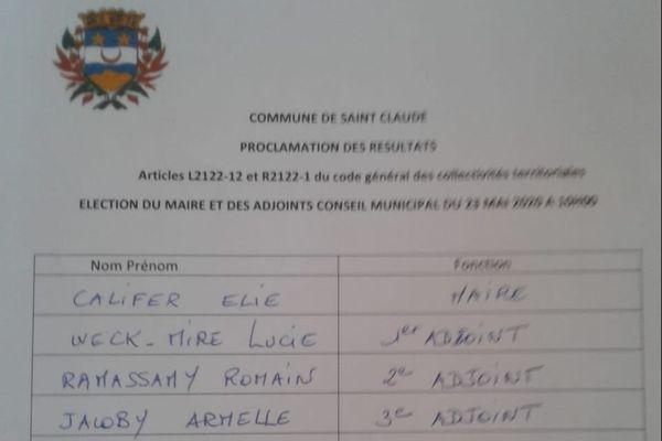 liste conseil municipal Saint-Claude
