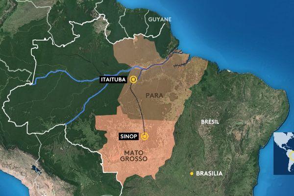 Le tracé du chemin fer en Amazonie