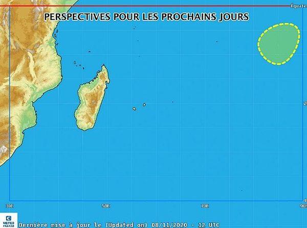 Carte de la zone Ouest de l'Océan Indien 9 nov 2020