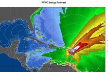 Modélisation d'une vague virtuelle frappant les Petites Antilles, le mardi 21 mars 2017, pour l'exercice Caribe Wave.