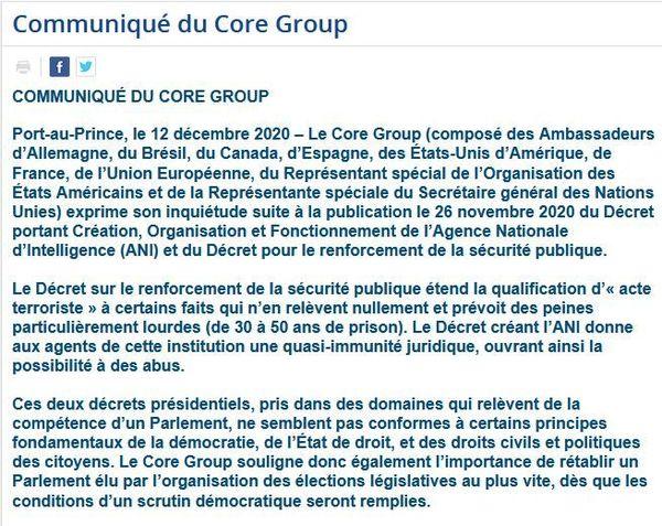 Communiqué du Core Group