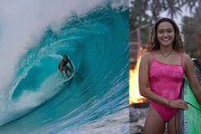 La surfeuse Vahine Fierro à Teahupo'o