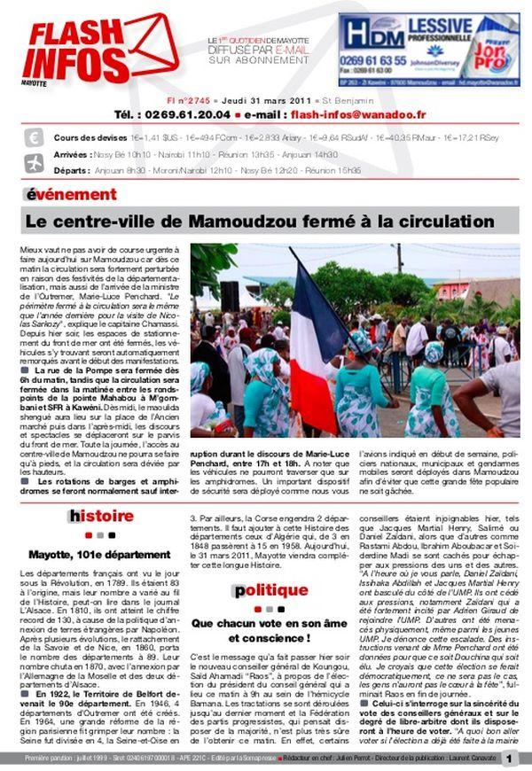 Revue de presse 10 ans départementalisation Une Flash Infos