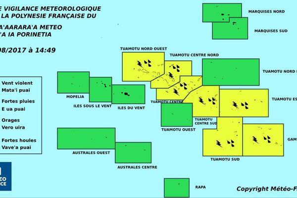 La majeure partie des Tuamotu Gambier en vigilance jaune fortes pluies et orages