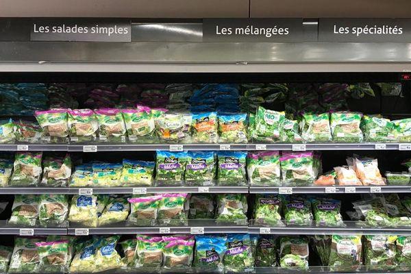 Salades sous vide en hypermarché