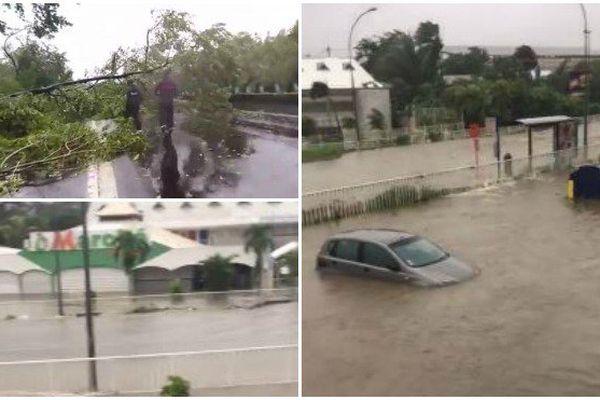 Inondations et chutes d'arbres en Guadeloupe après le passage de l'ouragan Maria.