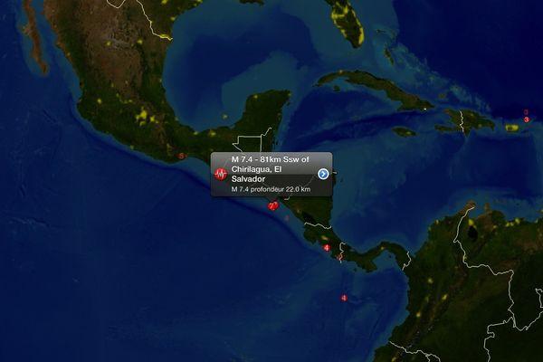Séisme de magnitude 7,4 au Salvador et au Nicaragua.
