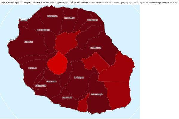 Carte des loyers Réunion maison