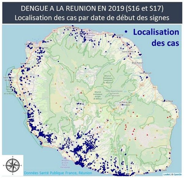 Dengue carte semaine 29 avril au 5 mai 2019