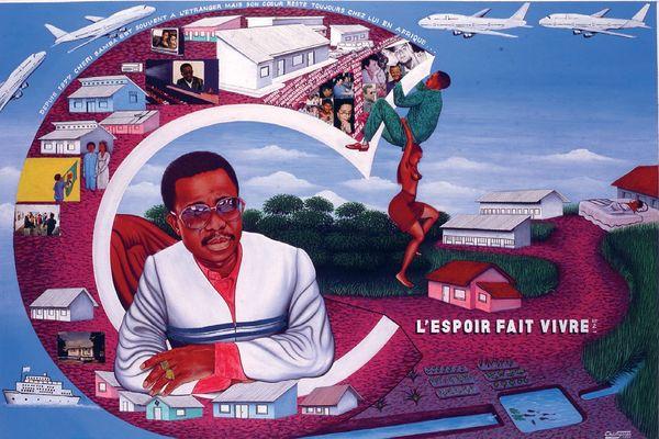 """Chéri Samba (Congo), """"L'espoir fait vivre n°2"""", 1997, acrylique, sequin, photographie et colle sur toile."""