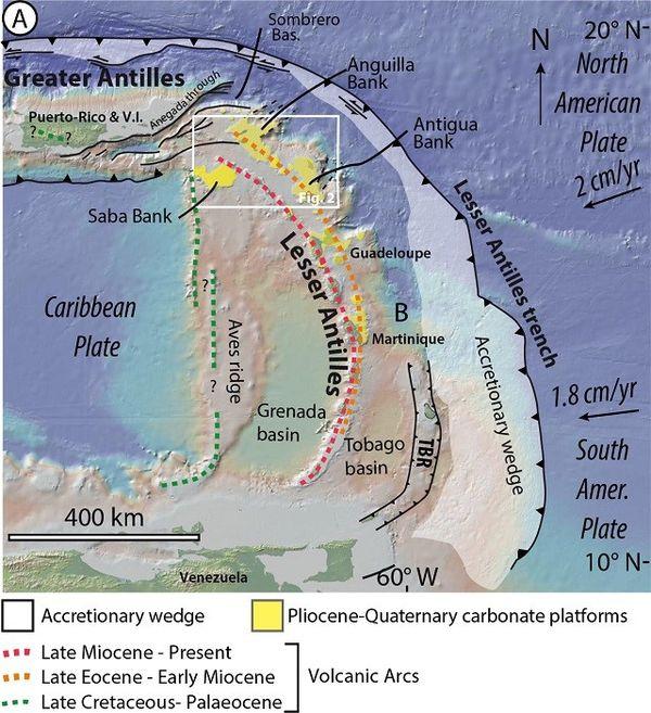 Contexte géologique du secteur étudié (rectangle blanc), à la jonction entre la ride d'Aves, les Petites Antilles et les Grandes Antilles