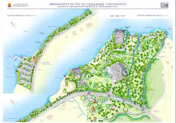 plan d'aménagement du marae taputapuatea
