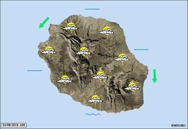 Carte météo de La Réunion 2 août 2018